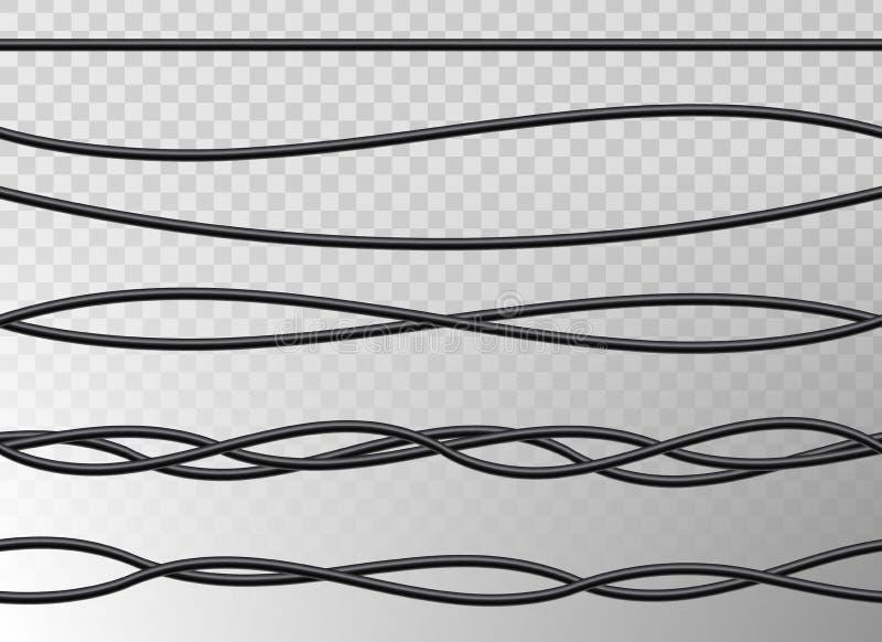 A ilustração criativa do vetor da rede flexível realística dos fios bondes, energia industrial do poder da conexão cabografa ilustração stock