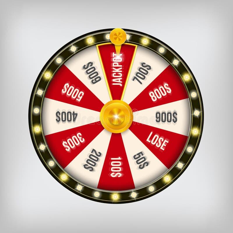 Ilustração criativa do vetor da roda de giro da fortuna 3d Jackpot afortunado da vitória da roleta no projeto da arte do casino S ilustração stock