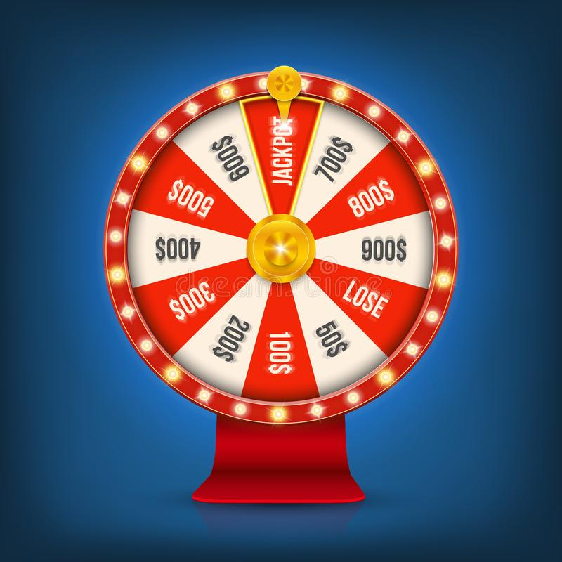 Ilustração criativa do vetor da roda de giro da fortuna 3d Jackpot afortunado da vitória da roleta no projeto da arte do casino S ilustração do vetor