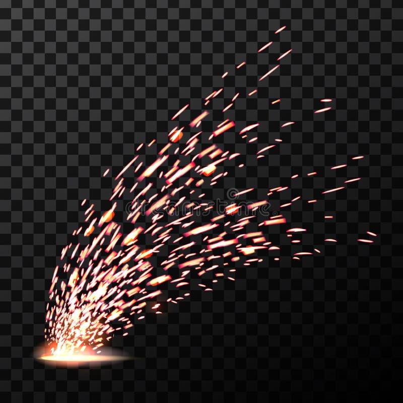 Ilustração criativa do vetor das faíscas do fogo do metal de soldadura isoladas no fundo transparente Projeto da arte durante o f ilustração do vetor