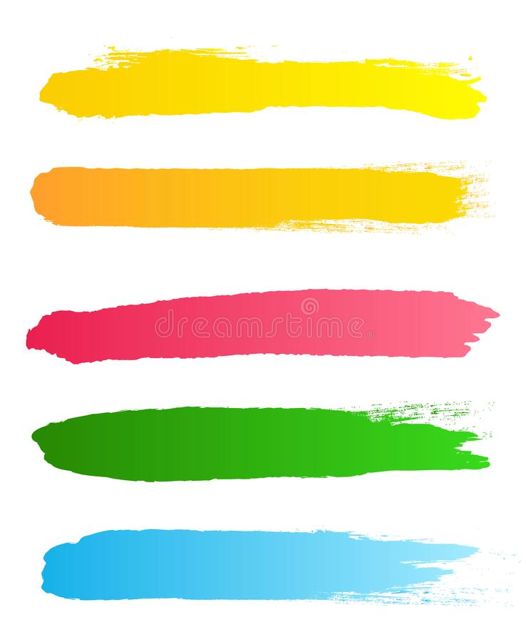 Ilustração criativa do vetor dos cursos ásperos da escova do preto do grunge isolados no fundo Manchas do projeto da arte Sumário ilustração stock