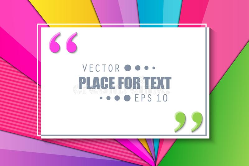 Ilustração criativa do vetor do fundo material colorido das bolhas das citações do estilo do projeto Web na moda do molde do proj ilustração do vetor