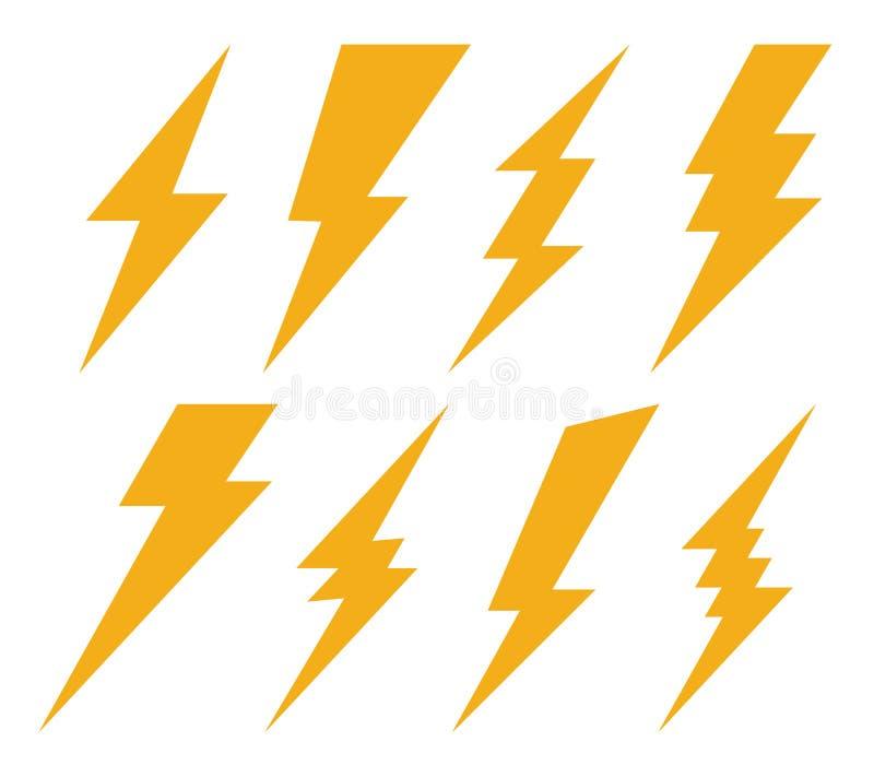 Ilustração criativa do vetor do grupo do ícone do flash da iluminação do trovão e do parafuso isolado no fundo transparente Proje fotos de stock royalty free