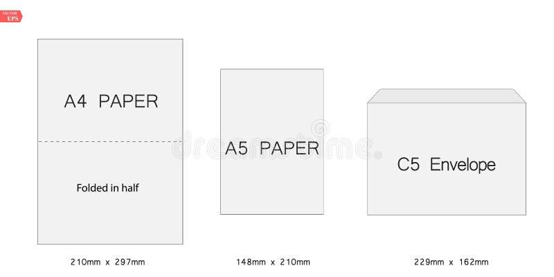 Ilustração criativa do vetor do grupo branco do molde dos envelopes do papel vazio C5 isolado no fundo branco internacional ilustração royalty free