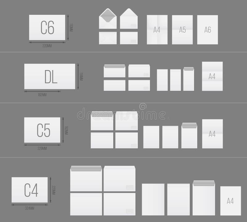 Ilustração criativa do vetor do grupo branco do molde dos envelopes do papel vazio isolado no fundo transparente Standar internac ilustração do vetor