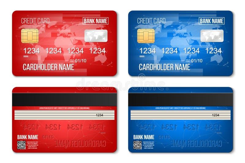 Ilustração criativa do vetor do grupo de cartão plástico do crédito do banco isolado no fundo transparente Lados mo realístico do ilustração royalty free
