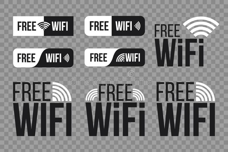 Ilustração criativa do vetor do grupo de símbolo livre do ícone do wifi isolado no fundo transparente Rede wireless do projeto da ilustração royalty free