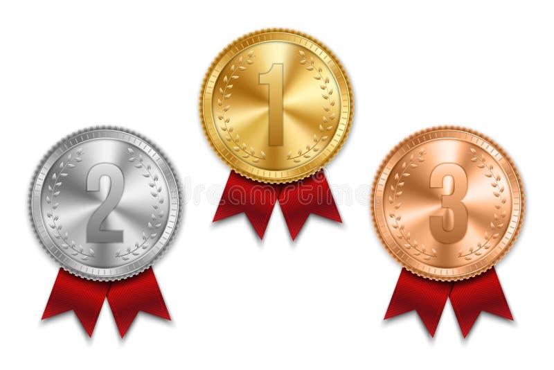 Ilustração criativa do vetor do grupo realístico do ouro, a de prata e a de bronze da medalha na fita colorida isolada no fundo t ilustração stock