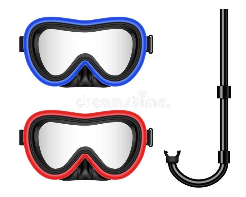 Ilustração criativa do vetor do mergulho autônomo, máscara nadadora com tubo de respiração, óculos de proteção, aletas isoladas e ilustração royalty free