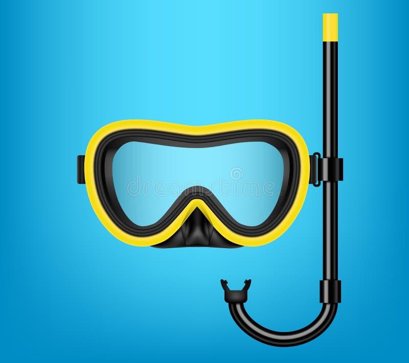 Ilustração criativa do vetor do mergulho autônomo, máscara nadadora com tubo de respiração, óculos de proteção, aletas isoladas e ilustração stock