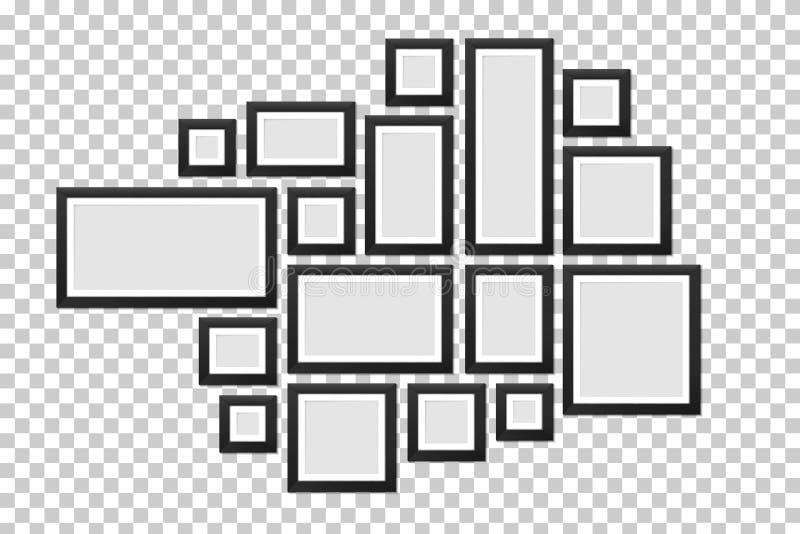 Ilustração criativa do vetor do molde das molduras para retrato da parede isolado no fundo Foto da placa do projeto da arte Sumár ilustração do vetor