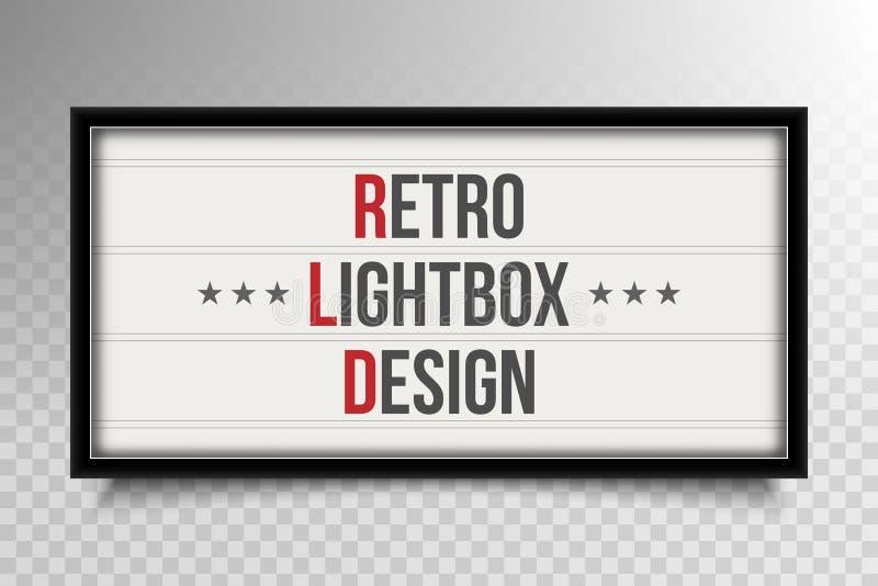 Ilustração criativa do vetor do quadro indicador de incandescência do cinema, lightbox retro isolado no fundo transparente Vint d ilustração royalty free