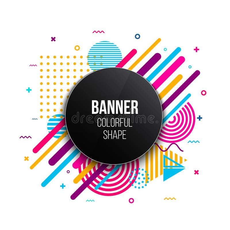 Ilustração criativa do vetor do quadro liso geométrico na moda da bandeira isolado no fundo Projeto da arte para o folheto, tampa ilustração stock