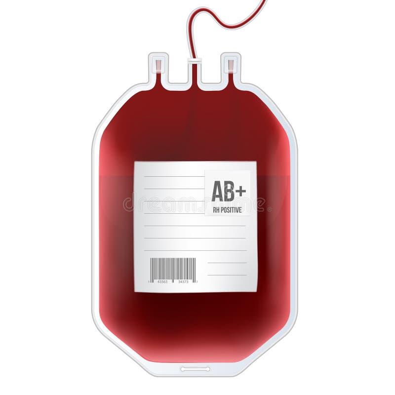Ilustração criativa do vetor do saco do sangue com tipo, recipiente plástico para o plasma no fundo transparente ilustração do vetor