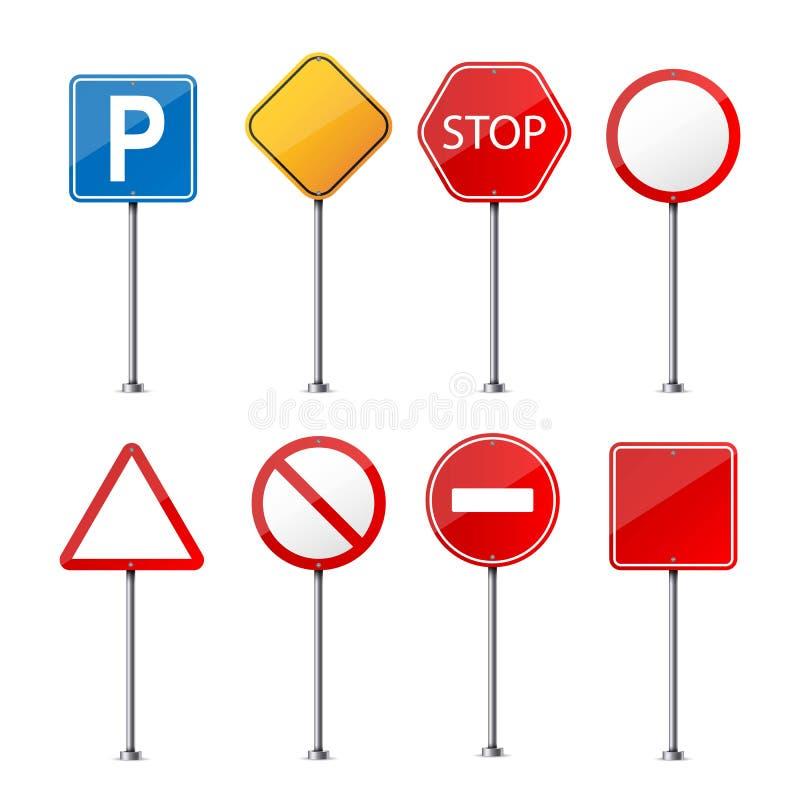 Ilustração criativa do vetor do sinal de aviso da estrada isolada no fundo transparente Regulador vazio realístico do tráfego do  ilustração royalty free