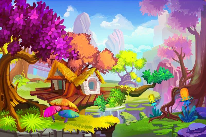 Ilustração criativa e arte inovativa: A cena da casa na árvore ilustração stock