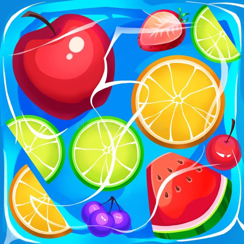 Ilustração criativa e arte inovativa: Cubo de gelo congelado do fruto ilustração stock