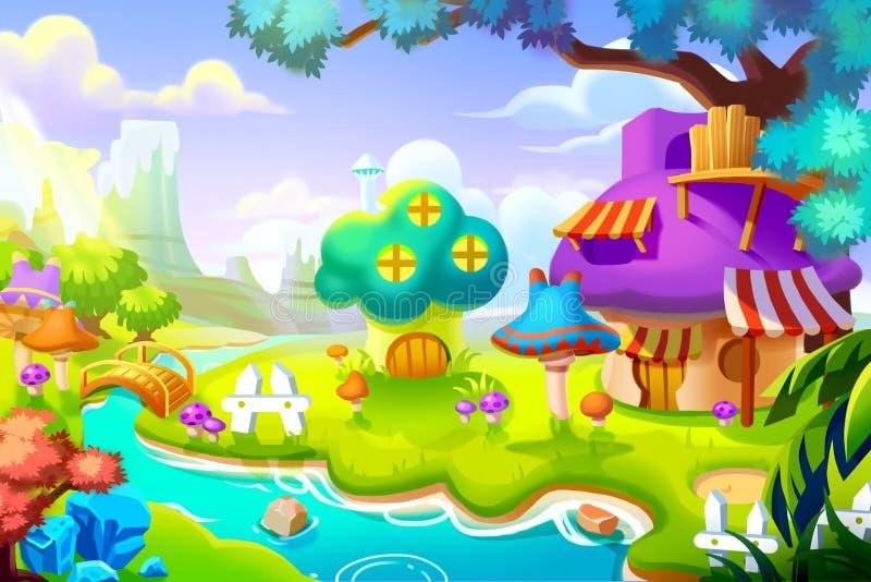 Ilustração criativa e arte inovativa: Forest House na terra colorida da natureza ilustração royalty free