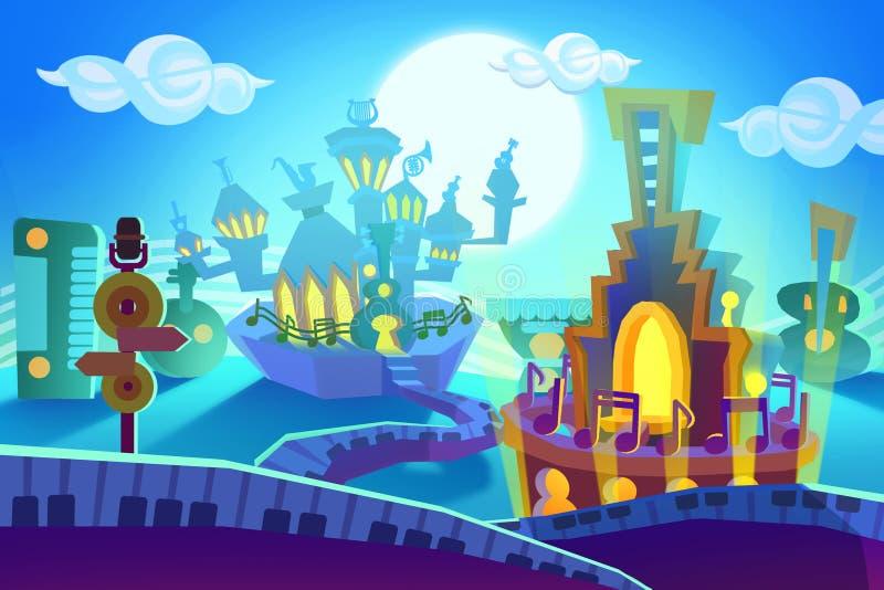 Ilustração criativa e arte inovativa: O fundo ajustou 5: Cidade da música ilustração royalty free
