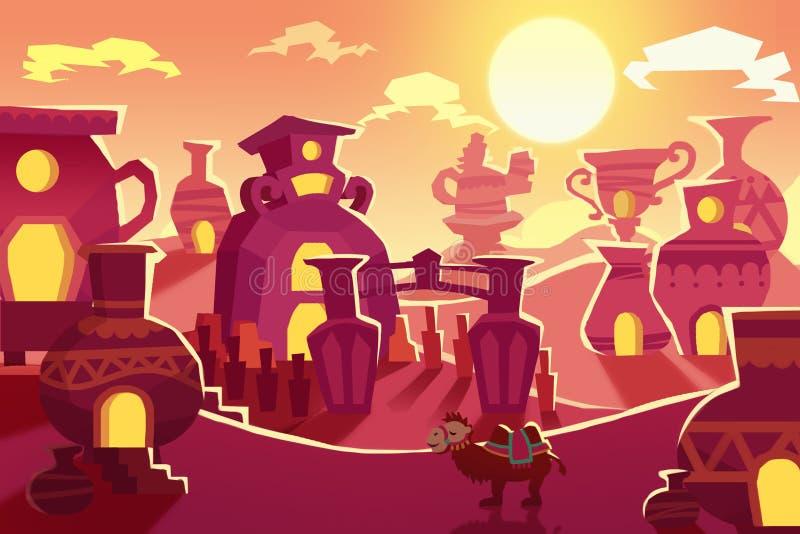 Ilustração criativa e arte inovativa: O fundo ajustou 7: Rota da Seda do deserto a China ilustração stock