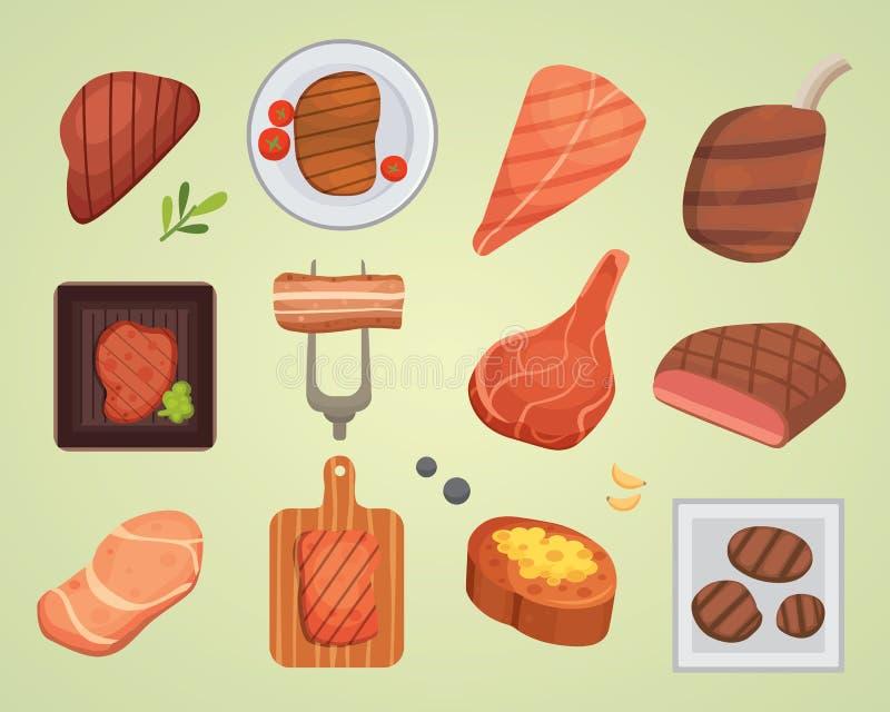 Ilustração crua e grelhada do bife diferente da carne do alimento do assado do BBQ do ingrediente do vetor ilustração royalty free