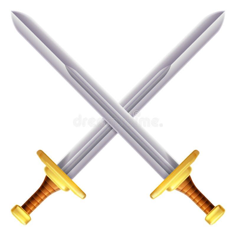 Ilustração cruzada das espadas ilustração do vetor