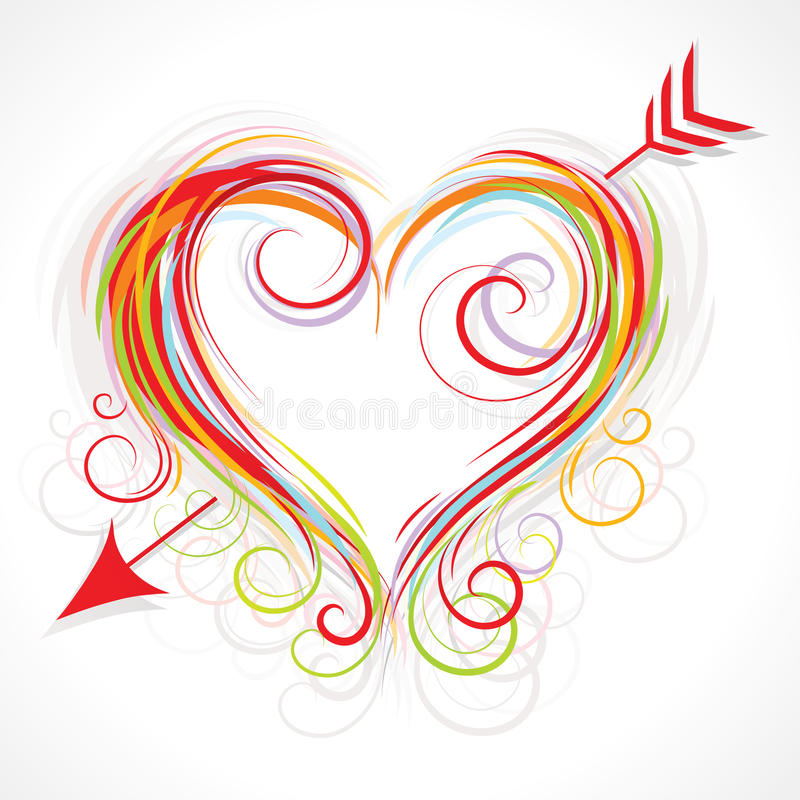 Ilustração Curly do coração ilustração do vetor