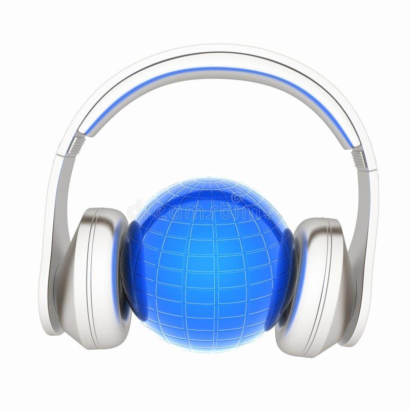 Ilustração 3d abstrata da música de escuta da terra ilustração stock