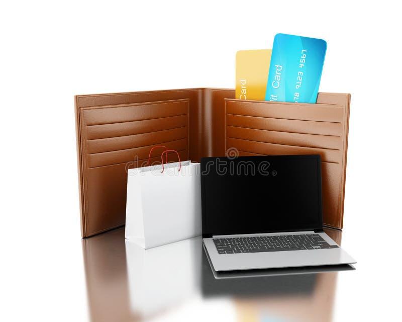 ilustração 3D Cartões de crédito na carteira de couro com saco e não ilustração royalty free