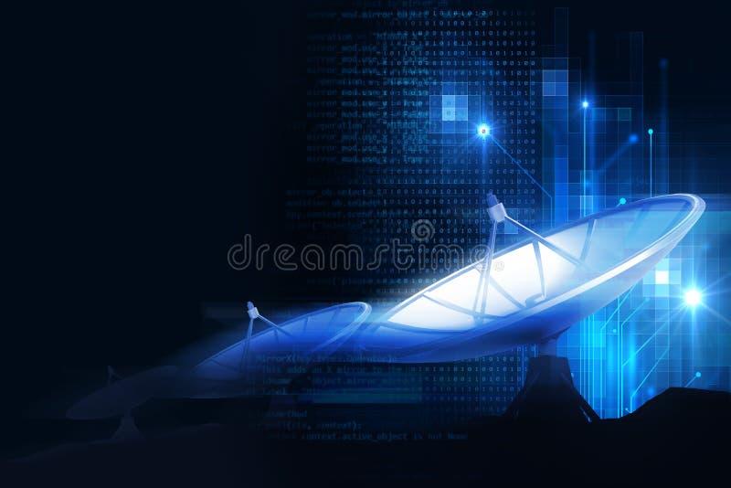 ilustração 3d da antena parabólica na tecnologia abstrata ilustração stock