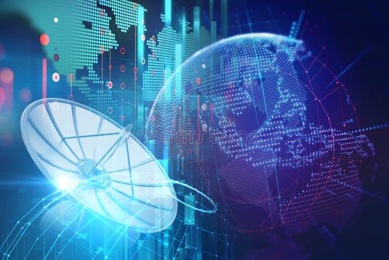 ilustração 3d da antena parabólica no backgr abstrato da tecnologia ilustração stock