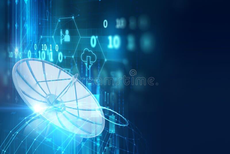ilustração 3d da antena parabólica no backgr abstrato da tecnologia ilustração do vetor
