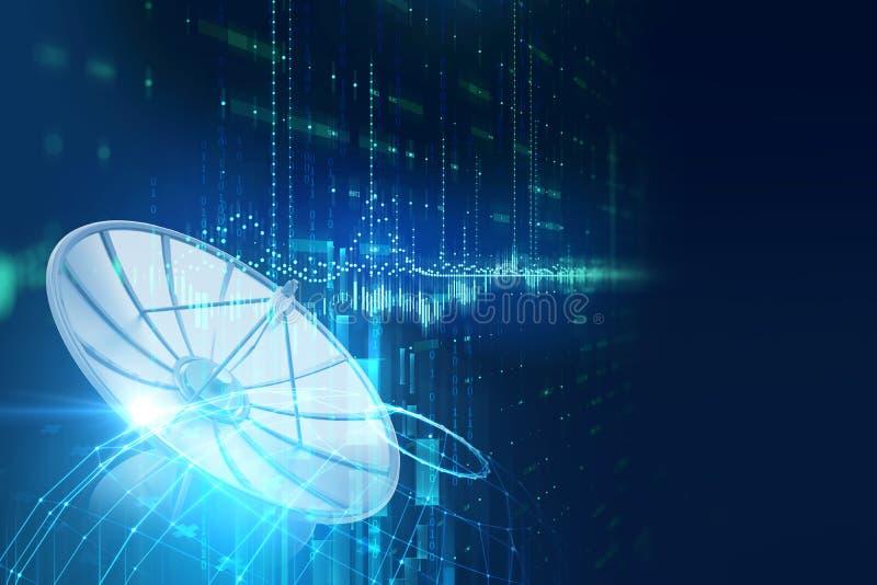 ilustração 3d da antena parabólica no backgr abstrato da tecnologia ilustração royalty free