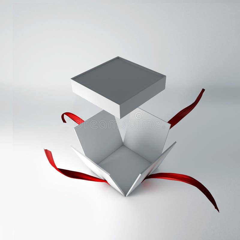 ilustração 3D da caixa de presente aberta com fita vermelha ilustração royalty free