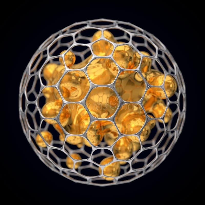 ilustração 3d da estrutura esférica do graphene ilustração stock