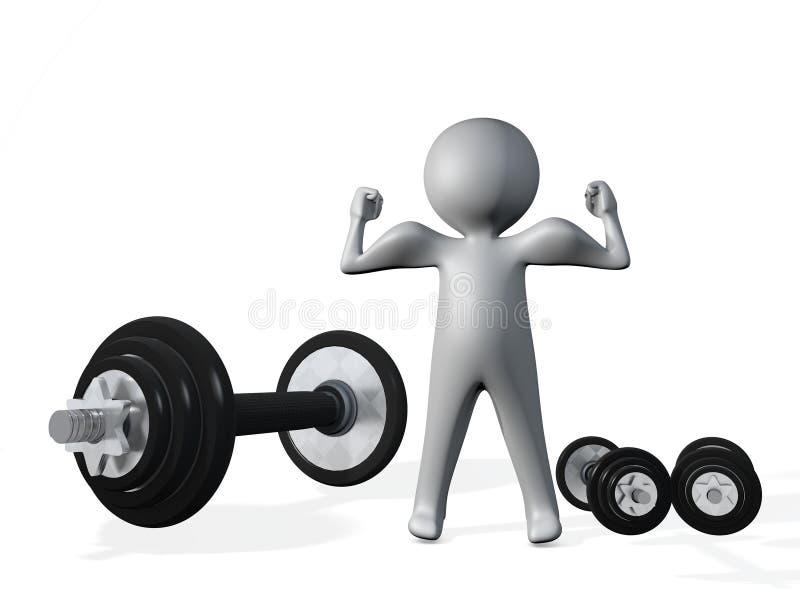 ilustração 3d da figura do homem com o barbell da haste dos músculos e dos dumbells do bíceps foto de stock royalty free