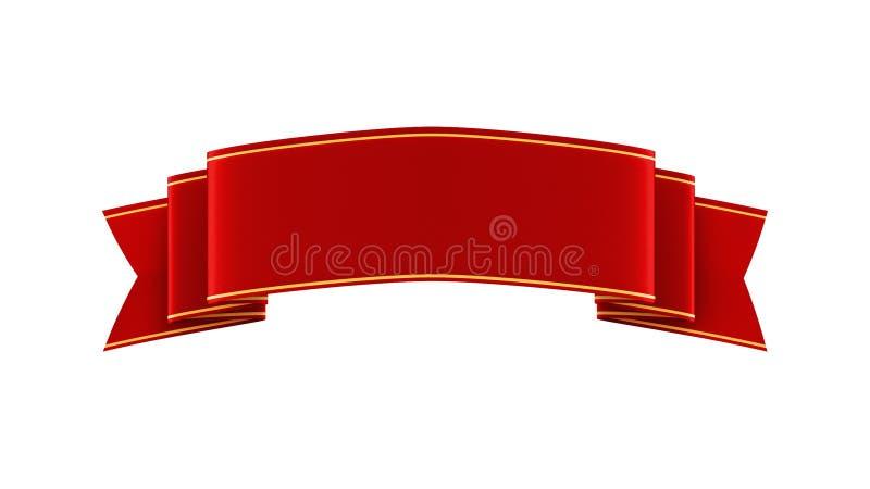 ilustração 3D da fita vermelha brilhante com tiras do ouro ilustração stock