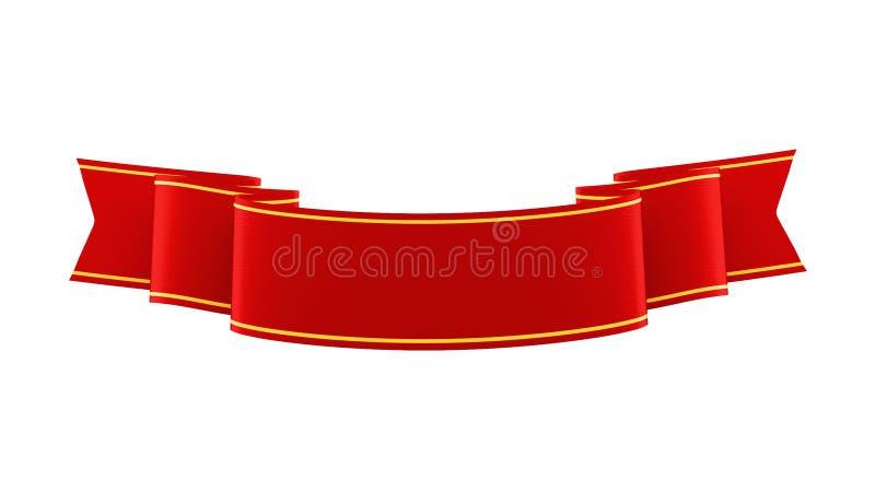 ilustração 3D da fita vermelha brilhante com tiras do ouro ilustração do vetor