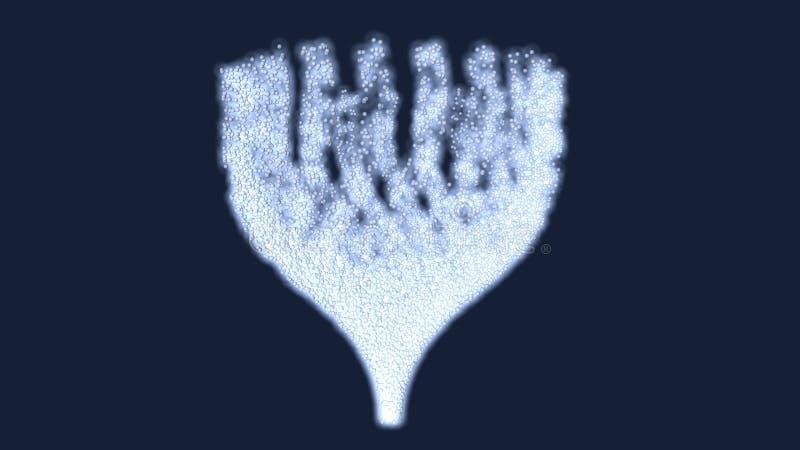 ilustração 3d da forma da partícula dentro de um estúdio ilustração stock