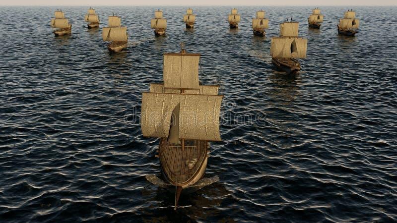 ilustração 3D da frota de madeira velha dos navios de guerra no oceano ilustração stock