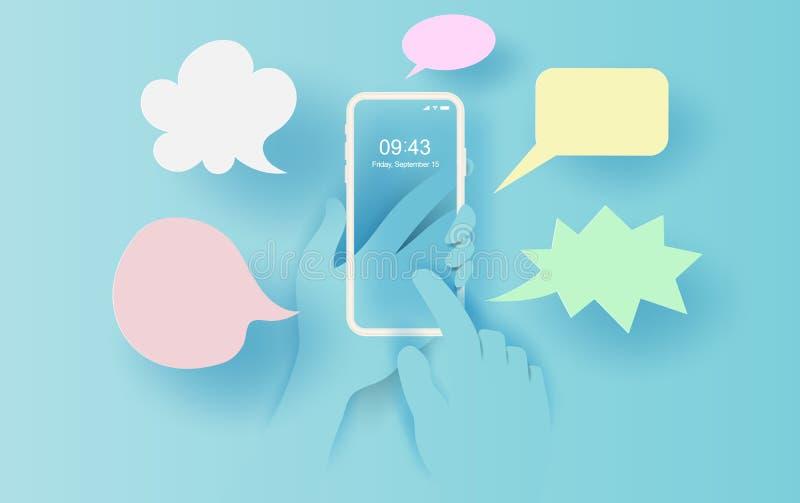 a ilustração 3D da mão guarda o smartphone com aplicação de SMS da mensagem Compõe os diálogos simples Ideia do quadro do envio d ilustração stock