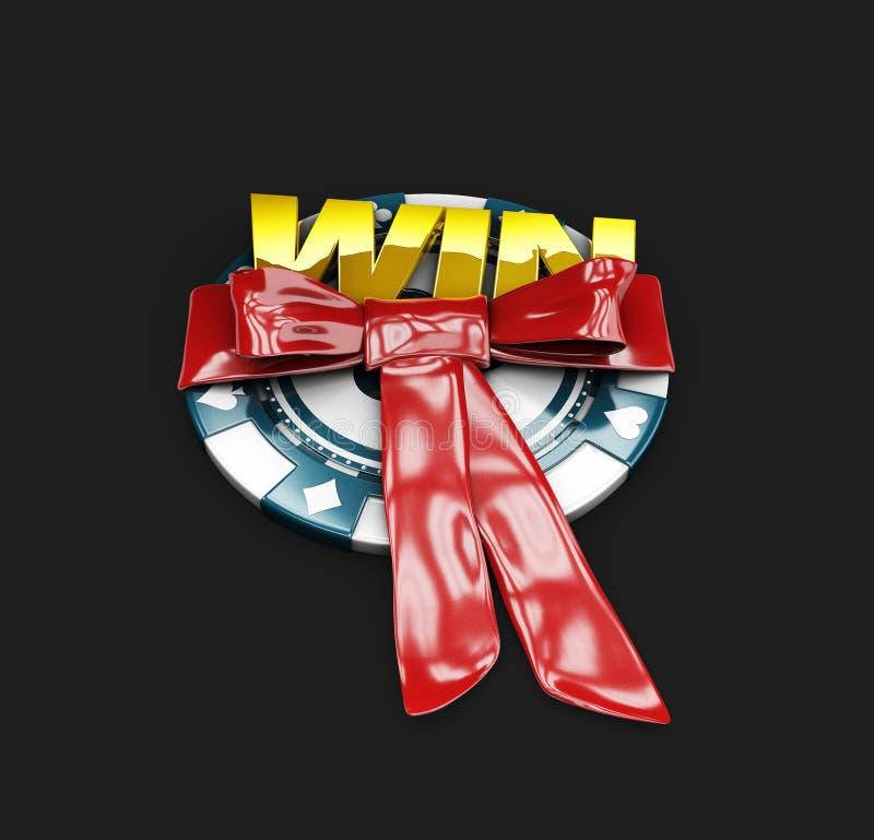 a ilustração 3d da microplaqueta do casino e a letra do ouro ganham, vencedor do jackpot ilustração stock