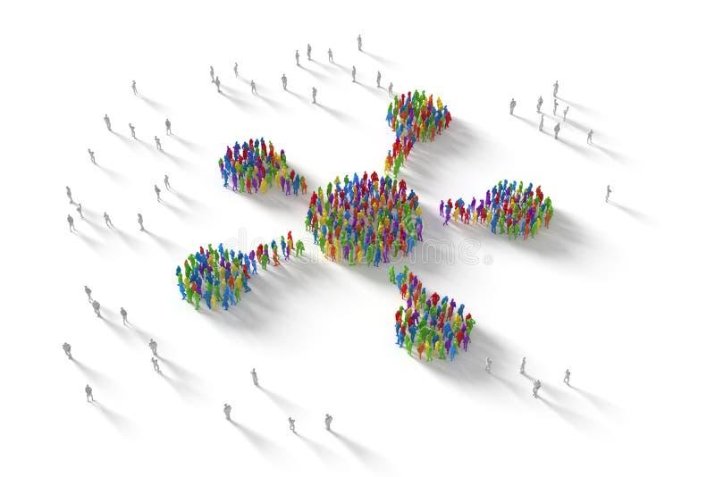 ilustração 3D da multidão humana que forma um símbolo da rede foto de stock