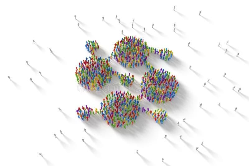 ilustração 3D da multidão humana que forma um símbolo da rede imagem de stock