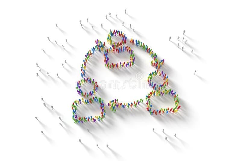 ilustração 3D da multidão humana que forma um símbolo da rede fotos de stock royalty free