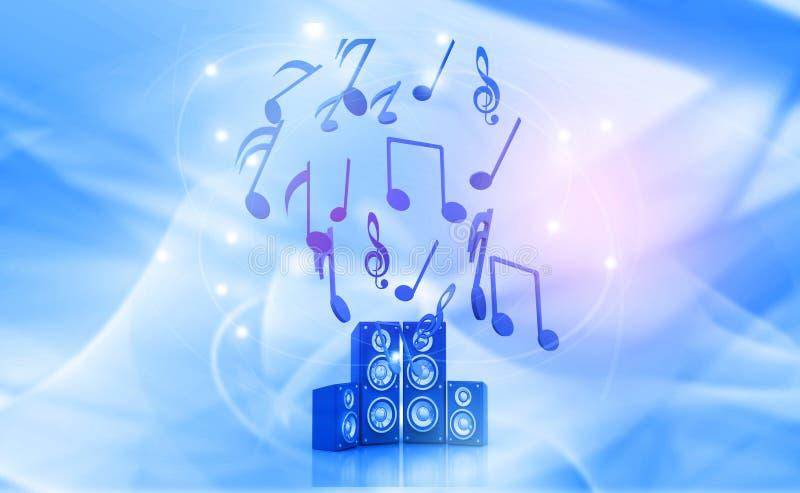 ilustração 3d da nota musical e dos oradores ilustração royalty free
