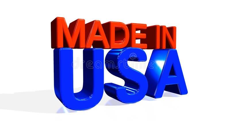 ilustração 3D da palavra 'FEITA NOS EUA 'no fundo branco rendi??o 3d ilustração stock