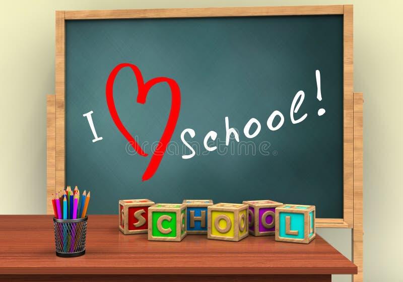 ilustração 3d da placa com texto de escola do amor e cubos das letras ilustração do vetor
