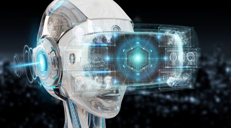 A ilustração 3D da realidade virtual e da inteligência artificial arranca