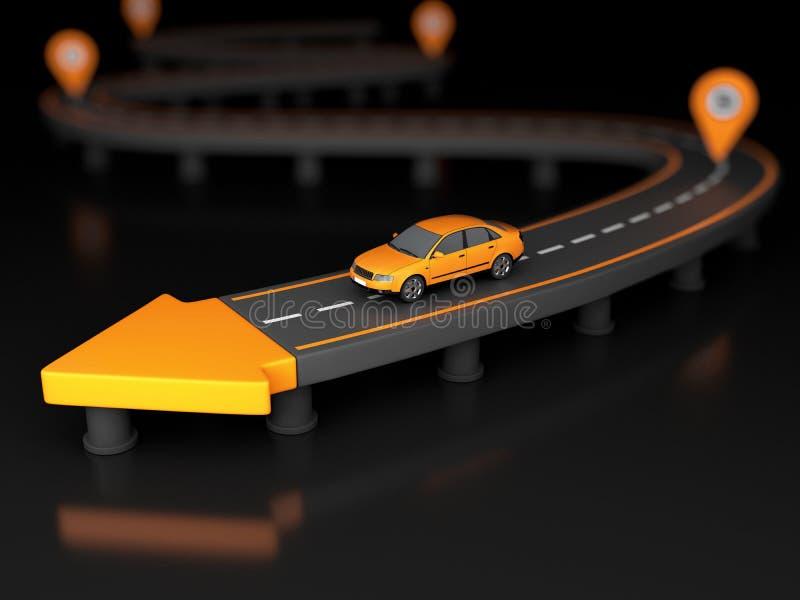 ilustração 3d da seta da estrada na extremidade de uma estrada com carro e pontos de verificação ilustração do vetor